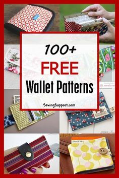 Over 100 free fabric wallet patterns. Many simple and easy designs to sew such as clutch, zipper, keychain, accordion, and card wallets. Find the perfect wallet pattern for you! Bag Patterns To Sew, Sewing Patterns Free, Sewing Tutorials, Diy Wallet Sewing Pattern, Crochet Patterns, Bag Tutorials, Tote Pattern, Fabric Patterns, Sew Wallet