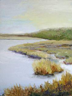 Marsh Waters - 6x12 Landscape Painting by Janet Fons - NUMA Gallery