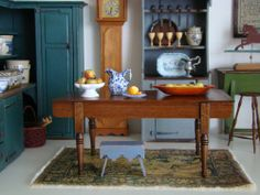 Miniature early American kitchen