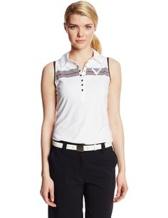 Made from 100% polyester this womens stripe logo razor back sleeveless golf polo shirt by Callaway offers moisture wicking, UPF protection and shape retention technology