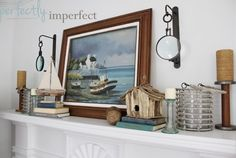 Nautical Summer Mantel. For more coastal and beachy mantel ideas, click here: http://www.completely-coastal.com/2011/05/mantel-decor-beach-style-summer.html