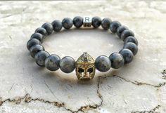 Handmade bracelet in semi-precious stones (natural matte larvikite labrodorite frosted) with antique Sparta Helmet.