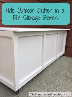 Hide Outdoor Clutter in this DIY Storage Bench - thehandymansdaughter.com