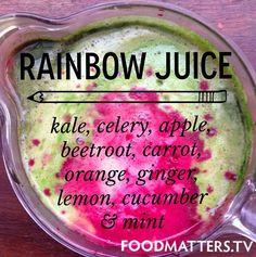 Rainbow Juice Recipe www.hungryforchange.tv