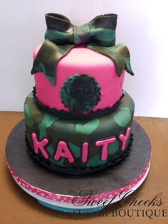 A cute camo and pink cake for Kaity for her send-off into the Army National Guard.
