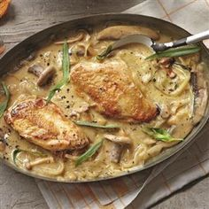 Dijon chicken with mushrooms recipe.This mustard chicken dish is great for an easy dinner party, serve with rice or simply a green salad