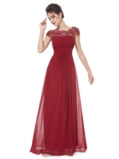 Burgundy Elegant Rhinestone Lace Paneled Open Back Ruched Front Maxi Dress   Choies
