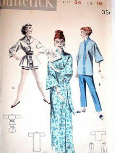 Butterick Pajamas Pattern No 7558 UNCUT Vintage 1950s Size 16 Bust 34 PJs Robe Oriental Design Short or Long Pants Mandarin Top Jammies