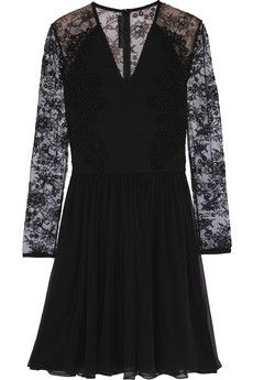 Elie Saab Lace-paneled ponte and chiffon mini dress | NET-A-PORTER