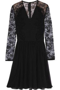 Elie Saab Lace-paneled ponte and chiffon mini dress   NET-A-PORTER