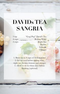 A delicious, refreshing and healthy Sangria Recipe Healthy Sangria Recipe, Sangria Recipes, Tea Recipes, Cocktail Recipes, Non Alcoholic Drinks, Fun Drinks, Yummy Drinks, Davids Tea, Tea Cocktails