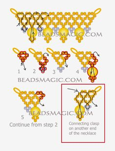 Free pattern for beaded necklace Sun Island U need: seed beads 15/0 pearls 6 mm