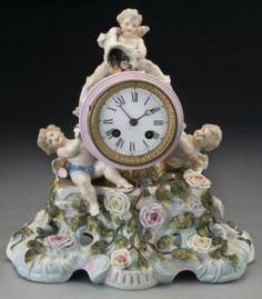 Dresden Style Porcelain Cased Mantel Clock