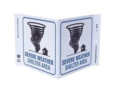 ZING Eco Safety V Sign, Severe Weather Shelter, 7Hx12Wx5D, Recycled Plastic