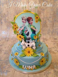 Frozen fever sunflower cake with snowgies. Frozen Party Ideas.