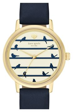 kate spade new york 'birds on a wire - metro' leather strap watch, 34mm