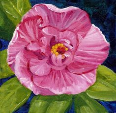 Zeh Original Art Blog Watercolor and Oil Paintings: Pink Camellia Flower - Acrylic Painting
