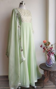 Beautiful Soft Green Anarkali by Label Kanupriya Shop now on - Indian designer outfits - Anarkali Dress, Pakistani Dresses, Indian Dresses, Indian Outfits, Shadi Dresses, Red Lehenga, Eid Dresses, Lehenga Choli, Modest Dresses