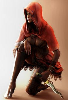 Sheva Alomar, Resident Evil 5. Playing RE right now moving a zombie-killer dressed as Red Riding Hood. Weird!  -  #residentevil <--- And no comments on Chris' outfit?  'Cause that's where the horror aspect of the game really comes in.   XD  ...  DX