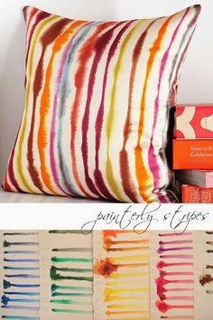 tie dye stripe pillow at west elm Sharpie Projects, Sharpie Crafts, Sharpie Art, Sharpies, Diy Projects, Diy Crafts, How To Tie Dye, How To Dye Fabric, Dyeing Fabric