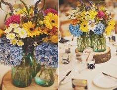 Mason Jar Centerpieces on Wood Slab!