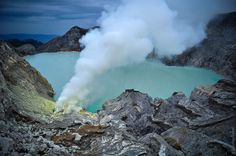 Kawah Ijen in East Java contains the world's largest acidic volcanic crater lake and famous for its turquoise color which can be seen only at night.