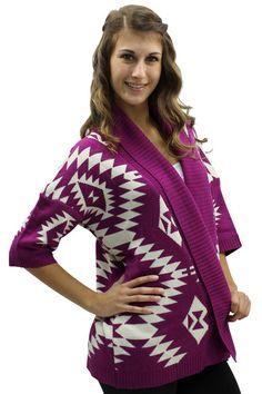 Aztec Print Open Cardigan Sweater
