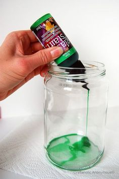 How to tint a glass jar: Ditch the Halloween theme for something pretty have a centerpiece idea.