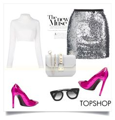 """""""Untitled #206"""" by milenazugic ❤ liked on Polyvore featuring Topshop, Balmain, Yves Saint Laurent, Prada and Valentino"""