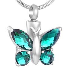 Green Butterfly Urn Necklace for Ashes - Cremation Memorial Keepsake Pendant - Funnel Fill Kit Included -- Awesome products selected by Anna Churchill