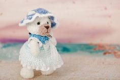 Cute teddy bear Kamila - soft toy. Teddy white bear in blue dress, fluffy wool beige and white color. Plush #animal #knit in style amigurumi. #Handmade toy made by hand croche... #etsy #crochet #toy #handmade #gift ➡️ https://www.etsy.com/kedrtoy/listing/505438443/cute-white-bear-soft-knit-teddy-bear?utm_campaign=products&utm_content=7103406900bb440ead3387c226c04497&utm_medium=pinterest&utm_source=sellertools