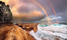 rainbows! Mosiquito Beach, Pictured Rocks National Lake Shore, Lake Superior. - Pixdaus