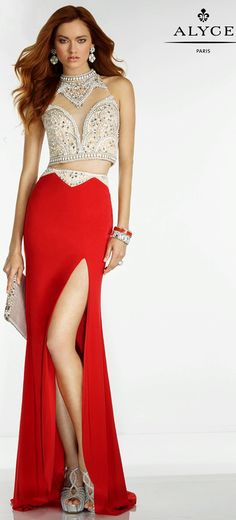 Prom Dresses Evening Dresses by Alyce Paris<BR>6536<BR>Two piece dress with jewels on crop top, sheer illusion cutouts and beaded waistband.