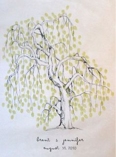 Would love this on the wall in my hallway. with both boys prints. willow version of the thumbprint tree guestbook