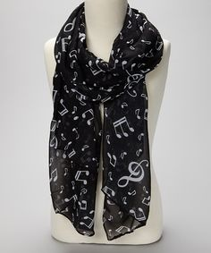 Take a look at this Black Music Notes Scarf by Sweet Indigo on #zulily today!