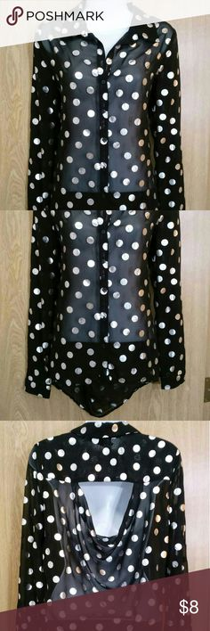 Sheer black top with silver polka dots -Hi-low -Upper open back -Button-down -New with tag! No Boundaries Tops Blouses