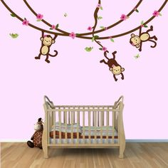 Monkey decals girl | Girl Monkey Wall Decal with Vines for Baby Nursery or Kid's Room