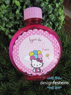 Rótulo de água redondo Festa Hello Kitty | Design Festeiro