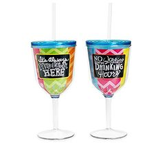 Colorful Summer Wine Tumblers - Set of 2 * Want additional info? Click on the image.