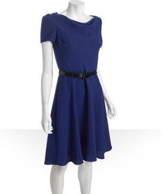 Crepe dress Tahari ASL : cobalt crepe belted cowl neck dress : style # 319050201