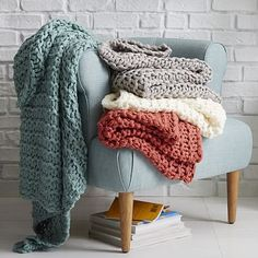Add a cream throw to lighten up the sofa with a chunk knit for texture. Chain Lock Throw #westelm
