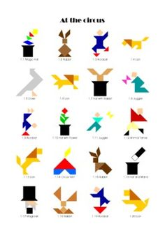 Tangram - Circus - Puzzle Cards & Math Mats
