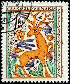 Stamp - Unesco stag folk art, Czechoslovakia
