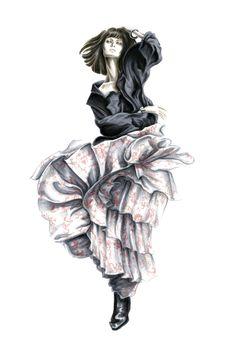 Fashion illustration in marker by Lara Wolf, garment by faith connexion #fashion #illustration #marker