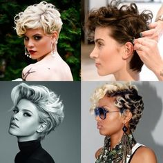 Wavy and curly long pixie cuts