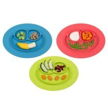eu Cartoon Silicone Plates,Non Slip One-Piece Dish for Baby,Kids,BPA Free,2 Colors Amys store