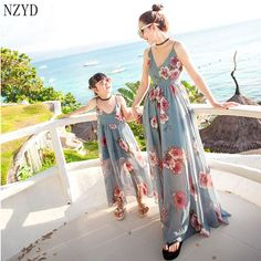 ==> [Free Shipping] Buy Best 2017 Summer Mother Daughter Parent-Child Outfit Dress New Children Resort Wear Long Skirt Fashion Suspenders Sexy Dress DC205 Online with LOWEST Price | 32792465009
