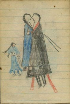 Plains Indian Ledger Art: Wild Hog Ledger-Schøyen - COURTING: Man in Black Blanket, Woman in Blue Blanket, and Chaperone in Blue Dress