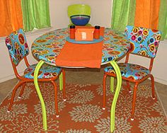 Oilcloth upholstered chairs and table!
