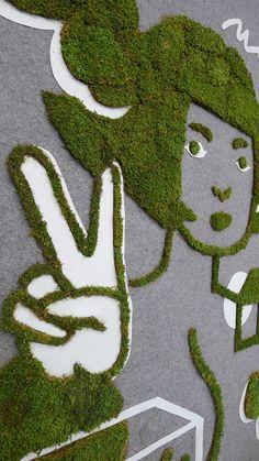 jennifer ilett grows hello/goodbye graffiti from moss